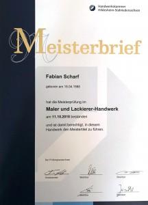 Meisterbrief Malermeister Fabian Scharf Hildesheim
